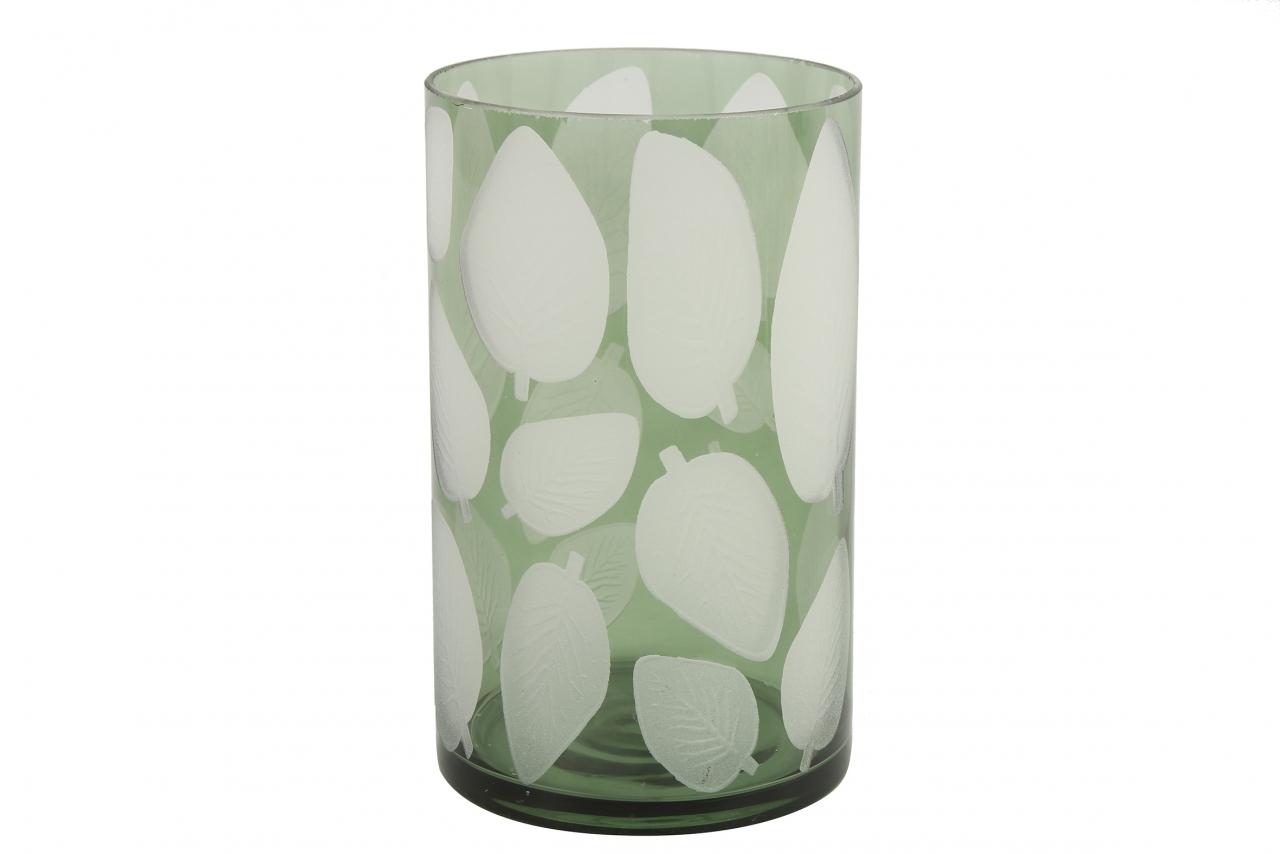 Skleněný svícen Zora, zelený s listem 20x12 cm