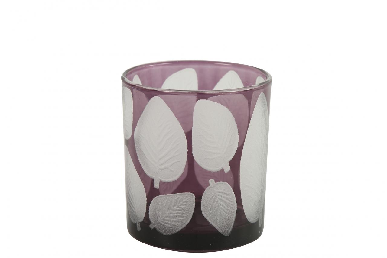 Skleněný svícen Zora, lila s listem 8x7 cm