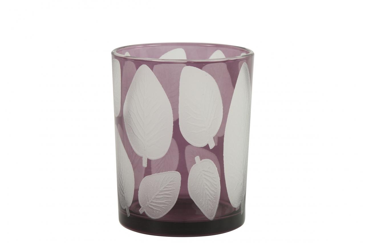 Skleněný svícen Zora, lila s listem 12,5x10 cm