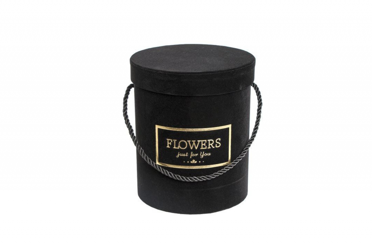Flower box černý sametový, 18x16 cm