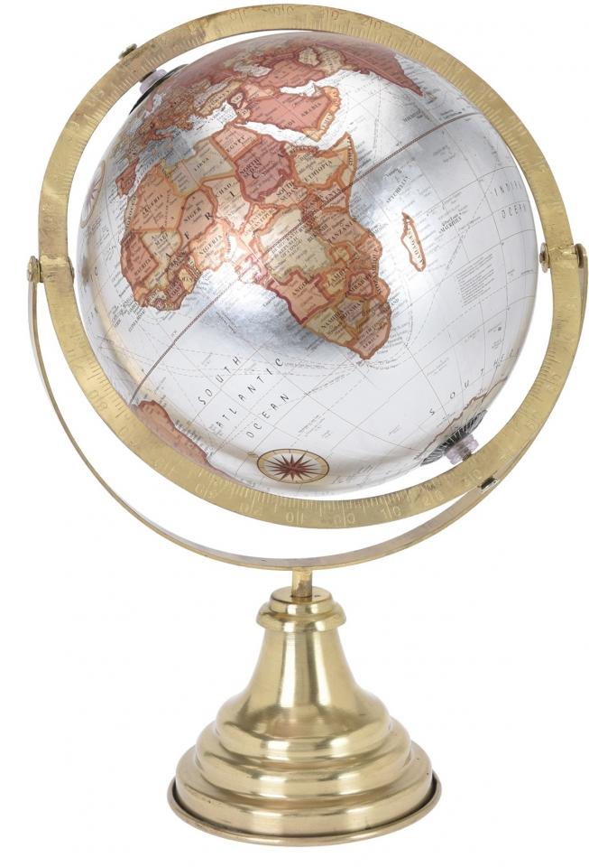 Otočný globus stříbrný 38 cm