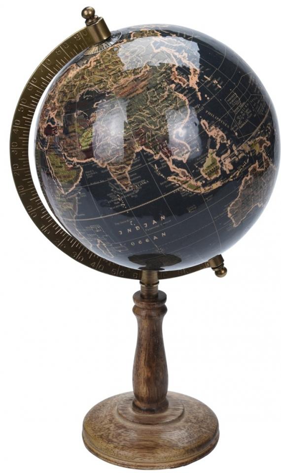 Otočný globus černý 32 cm