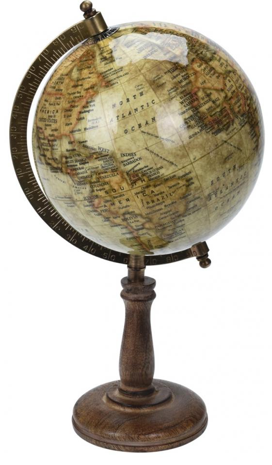 Otočný globus hnědý 32 cm