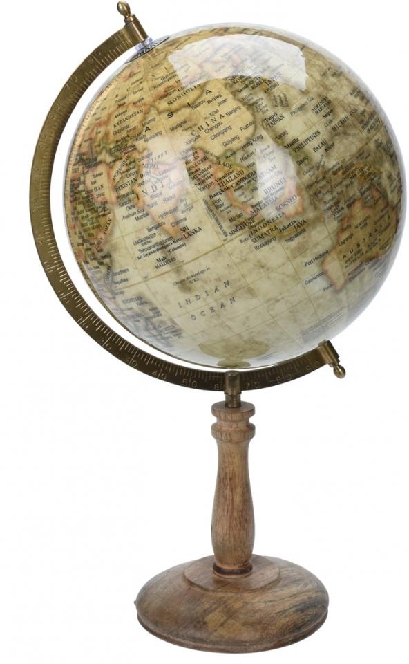 Otočný globus hnědý 43 cm