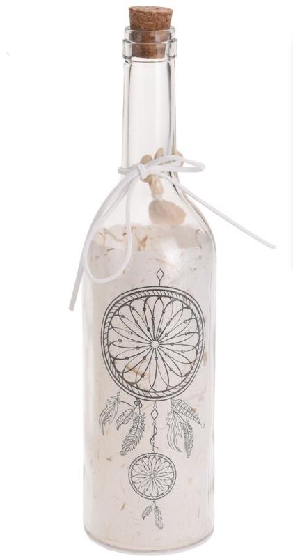 Svítící lahev s dekorem - lapač snů
