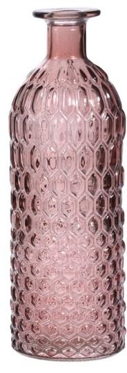 Skleněná váza růžová 26x9 cm