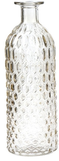Skleněná váza žlutá 26x9 cm