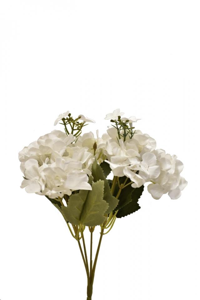 Kytice hortenzií 32 cm, bílá