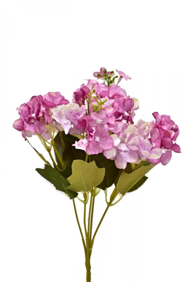Kytice hortenzií 32 cm, tmavě růžová