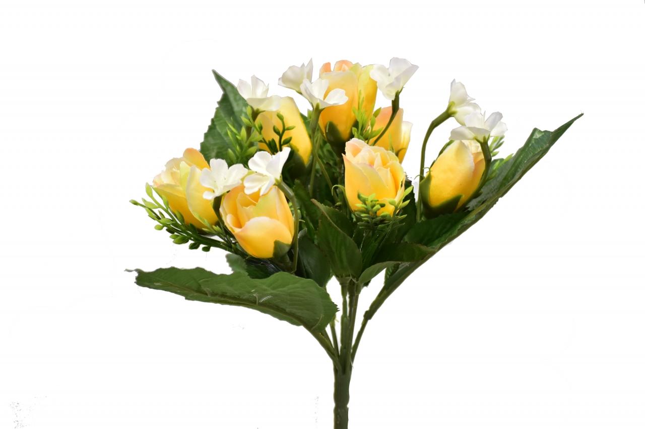 Kytice růží 26 cm, žlutá