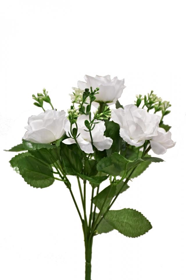 Kytička růží 28 cm, bílá