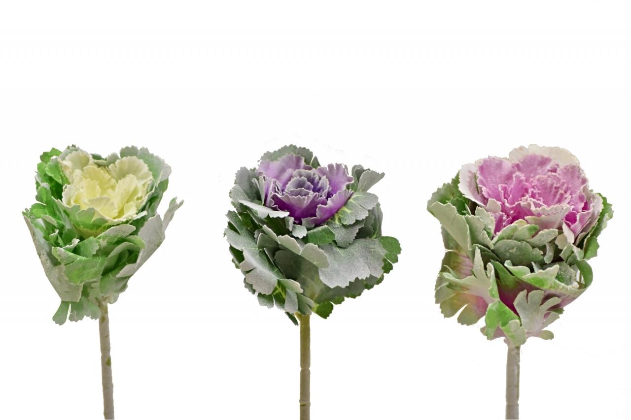 Umělé okrasné zelí 40 cm, mix barev