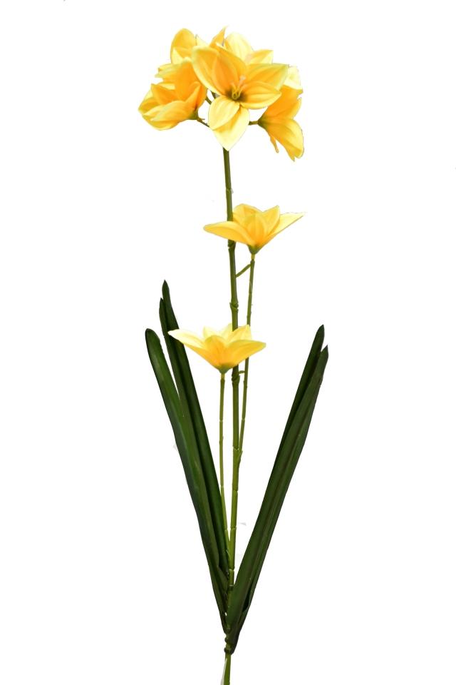 Umělá lilie 73 cm, tmavě žlutá