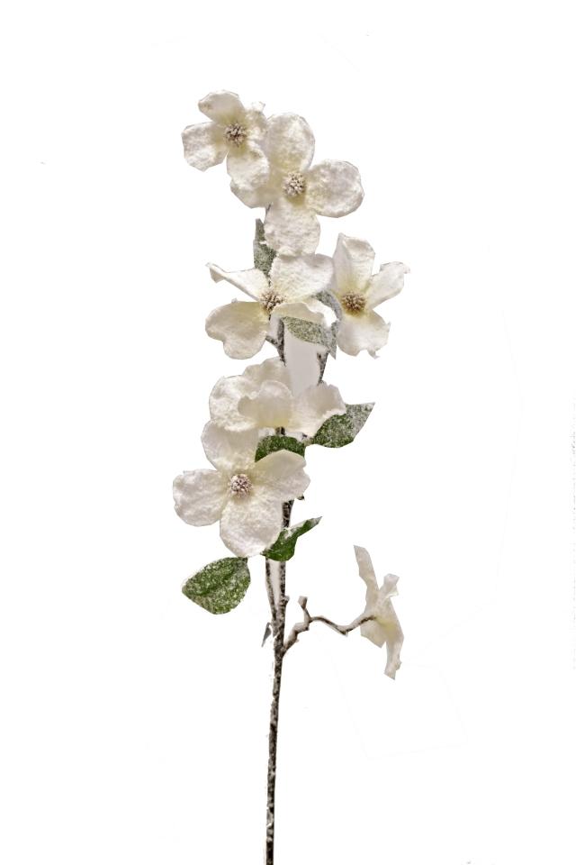 Větvička s květy 81 cm, bílá