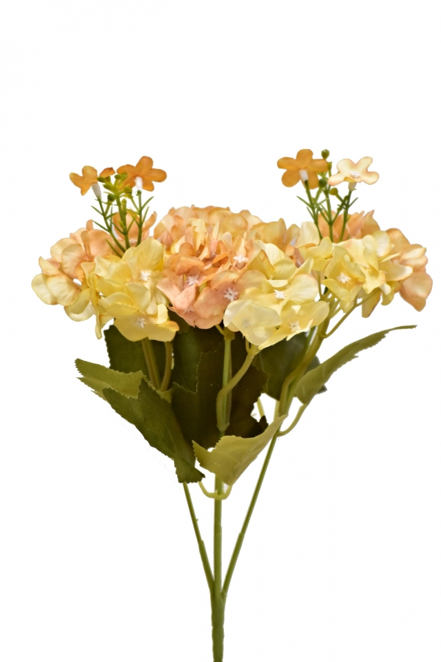 Kytice hortenzií 32 cm, meruňková
