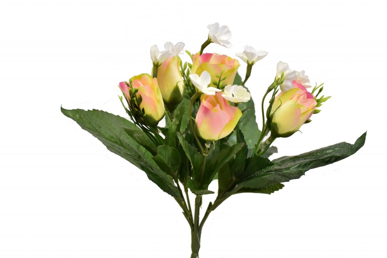 Kytice růží 26 cm, světle růžová