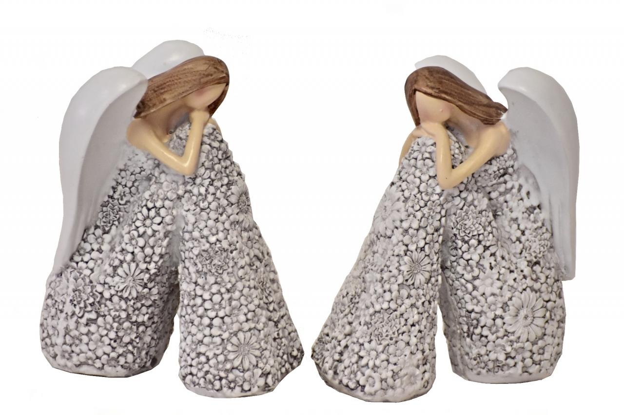 Sedící anděl Flo šedý 12,5 cm, mix druhů