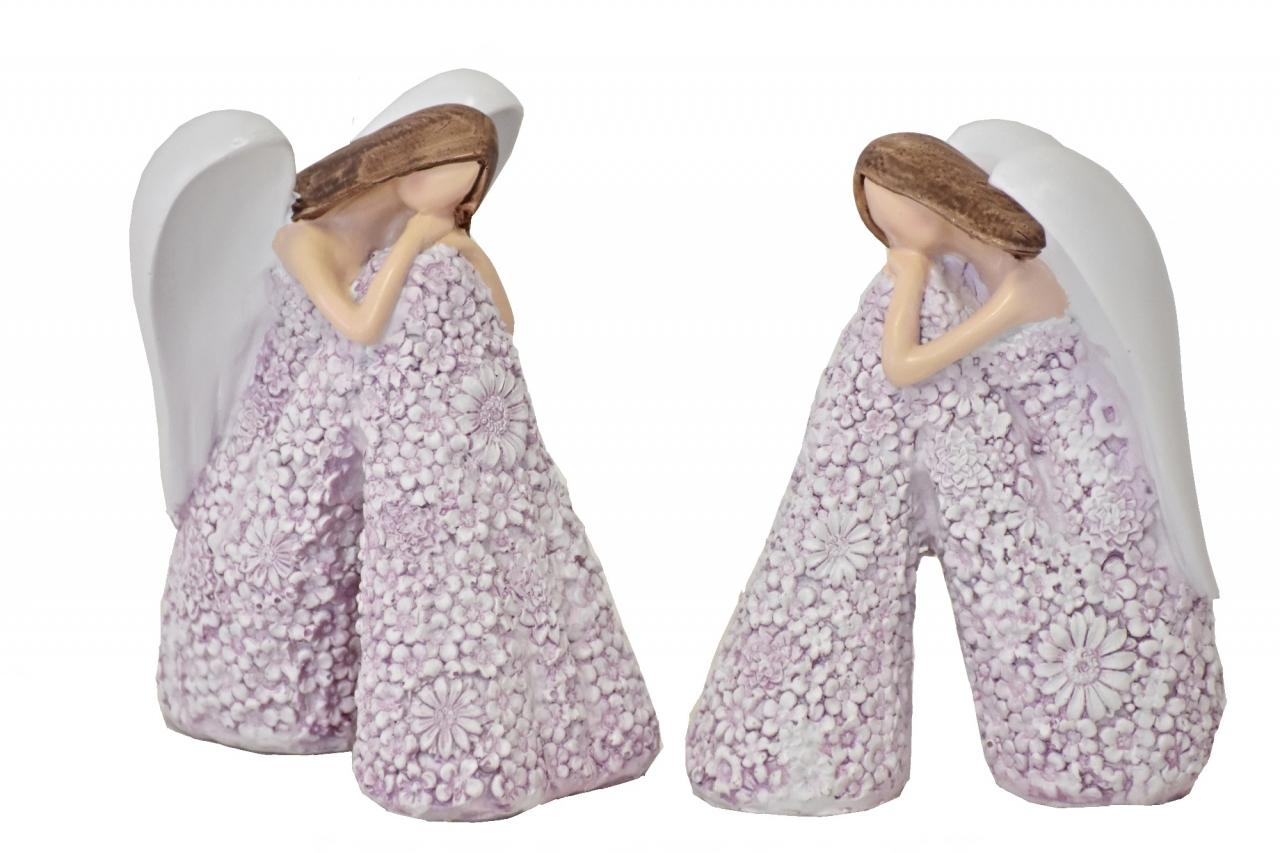 Sedící anděl Flo lila 12,5 cm, mix druhů