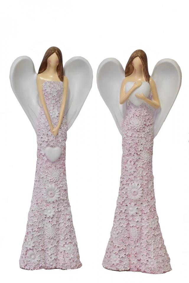 Anděl Flo starorůžový 48,5 cm, mix druhů