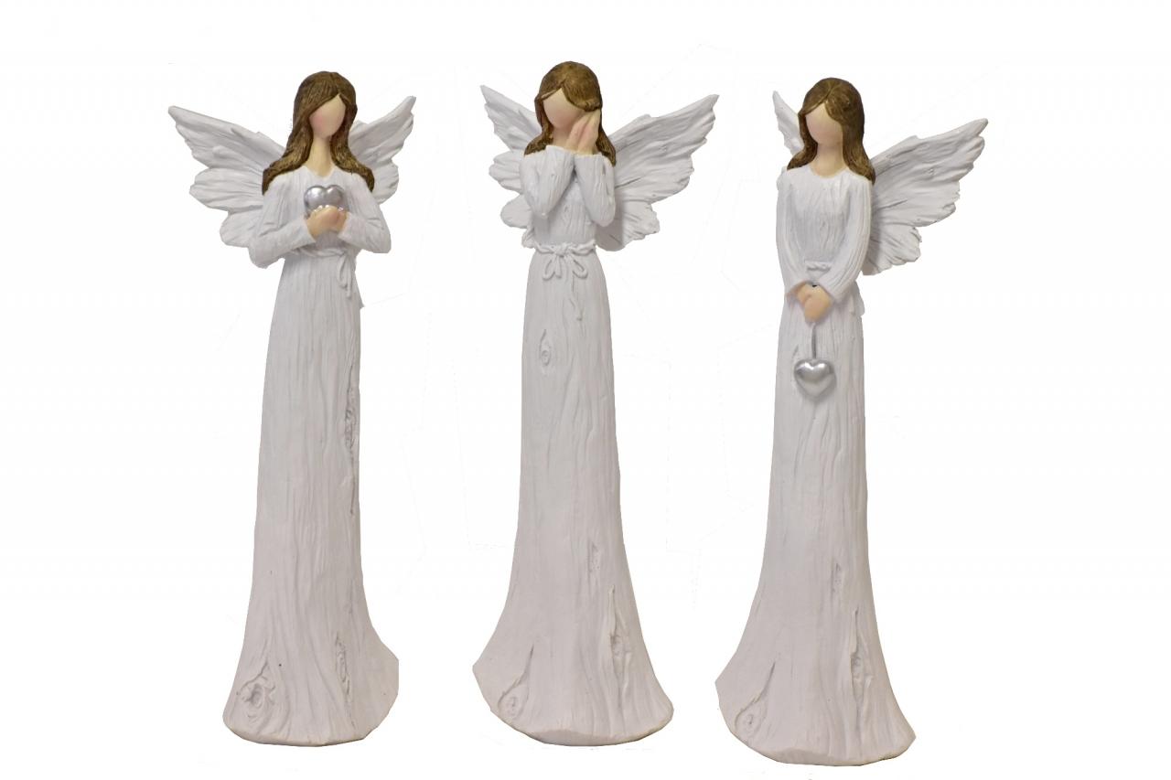 Anděl Wood White 23,5 cm, mix druhů