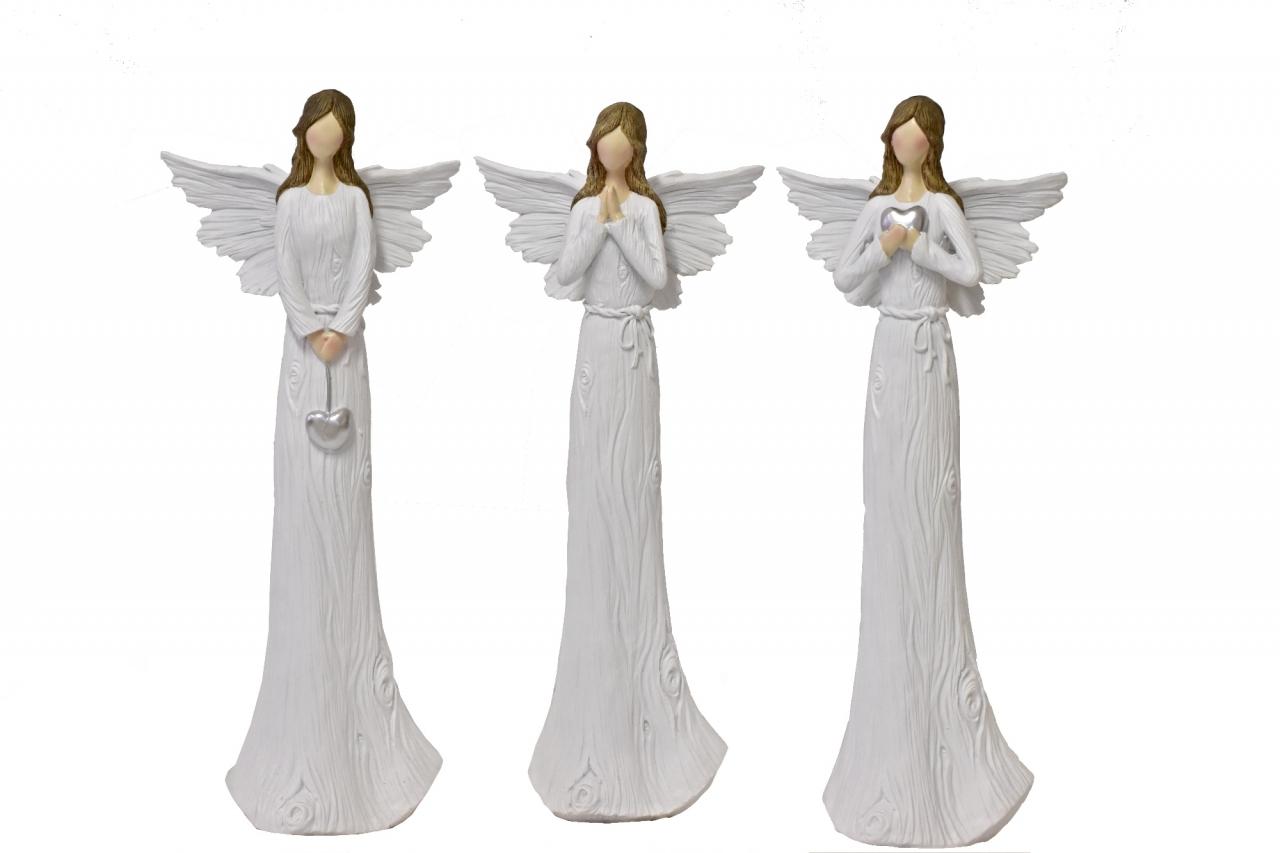 Anděl Wood White 37,5 cm, mix druhů