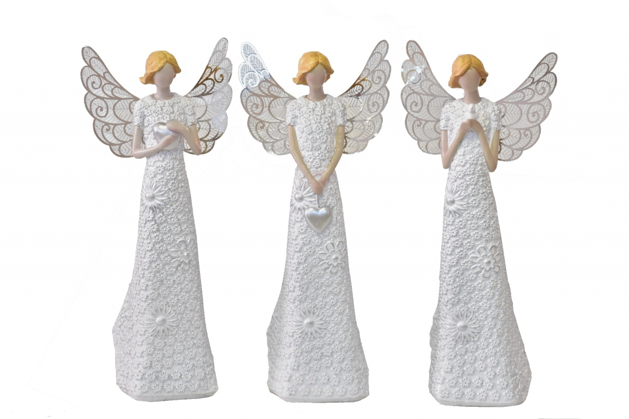 Anděl Flo Silver 29,5 cm, kovová křídla