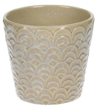 Keramický květináč krémový, 13,8x12,8 cm