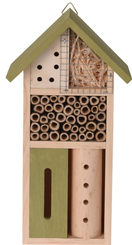 Dřevěný hmyzí hotel 13,5x8,5x26 cm, zelený