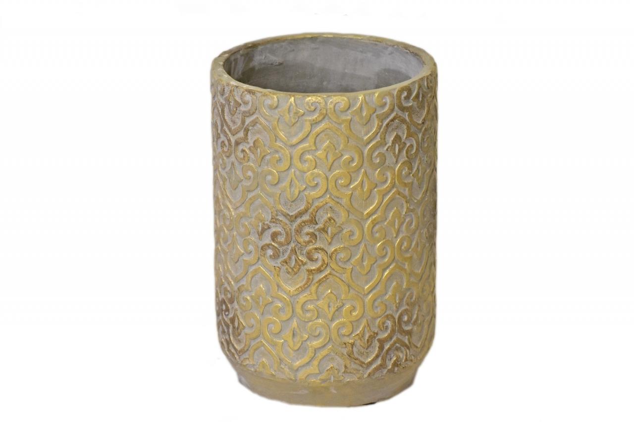 Květináč/váza Gold rustik 25,5x17 cm