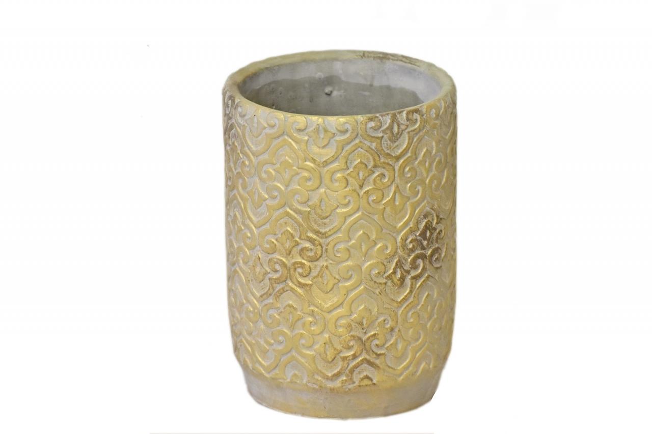 Květináč/váza Gold rustik 21x14,5 cm