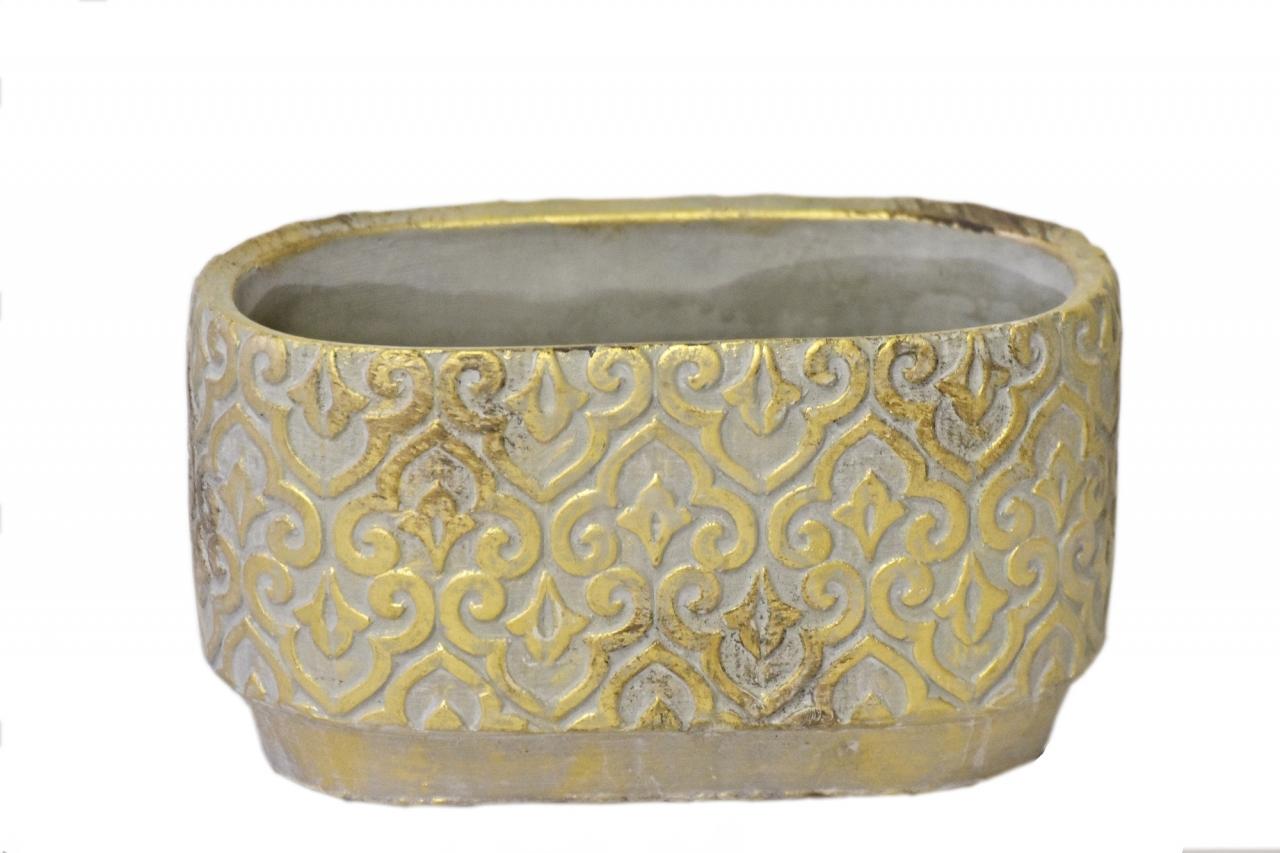 Květináč Gold rustik 11x11x19,5 cm