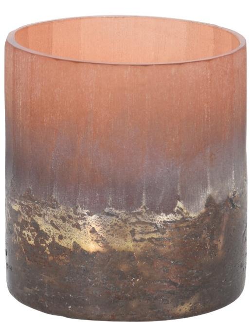Skleněný svícen terracota 7,5x7 cm
