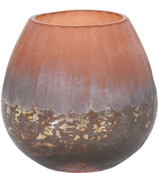 Skleněný svícen terracota 10x10 cm