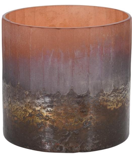 Skleněný svícen terracota 11x10 cm