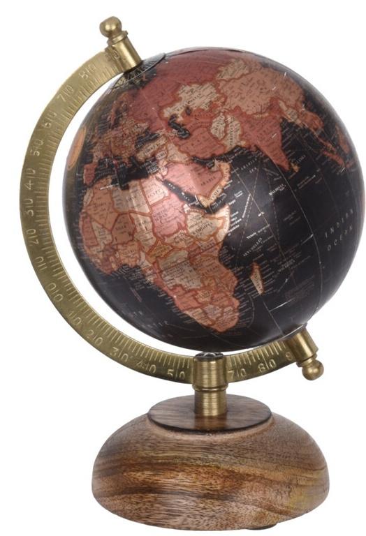 Otočný globus černý 21,5 cm