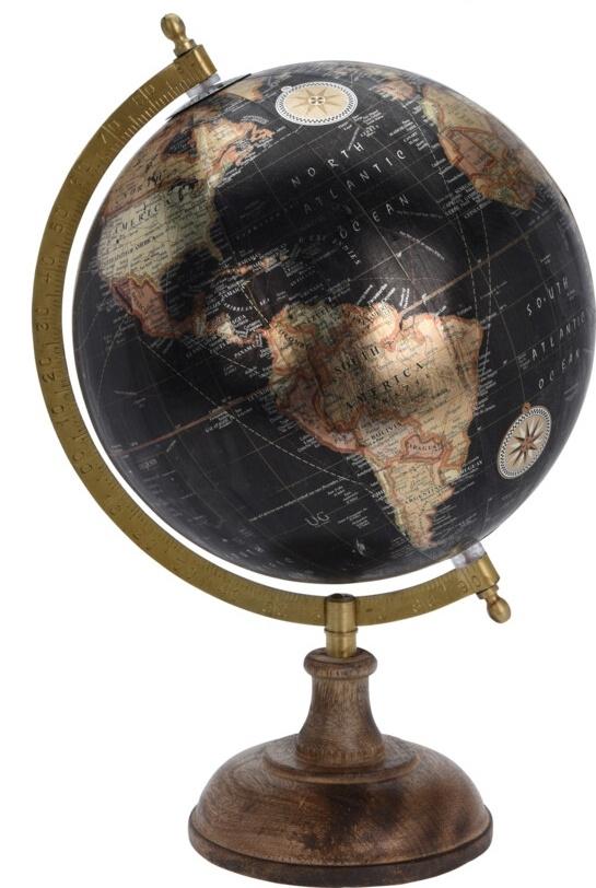 Otočný globus černý 24 cm
