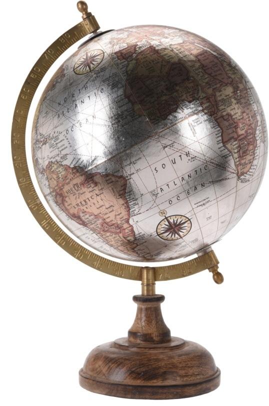 Otočný globus stříbrný 24 cm