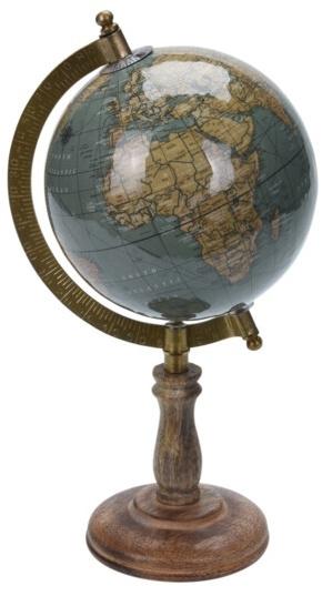 Otočný globus na vysokém podstavci 28x15,5x13 cm, zelený