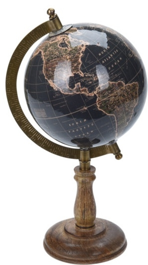 Otočný globus na vysokém podstavci 28x15,5x13 cm, olovově-zlatý