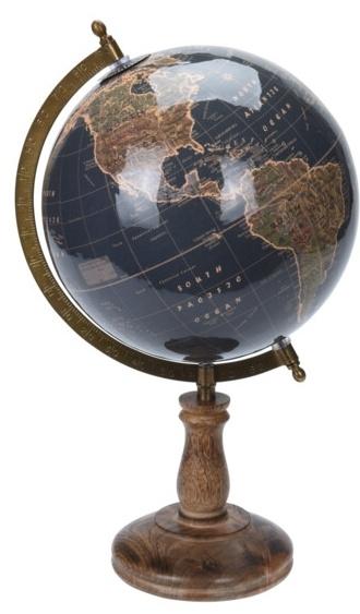 Otočný globus na vysokém podstavci 38x21,5x21,5 cm, olivově-zlatý