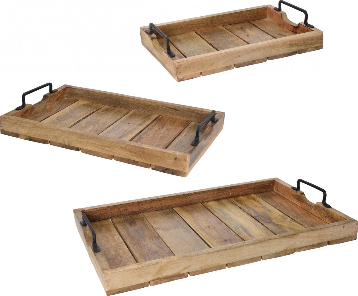 Podnos s/3 mangové dřevo kov.úchyt