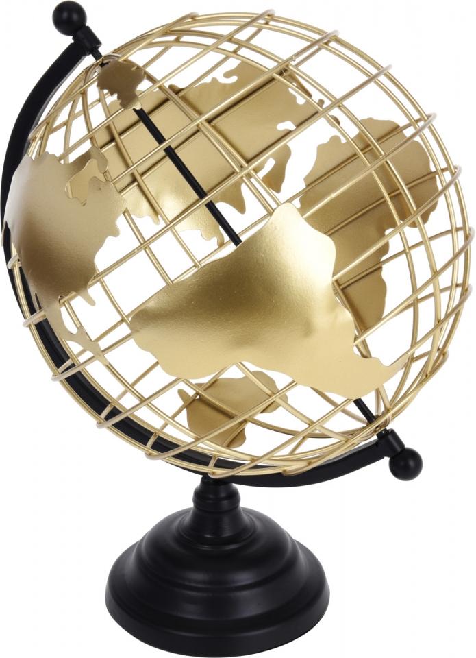 Otočný kovový globus zlatý 35x28 cm