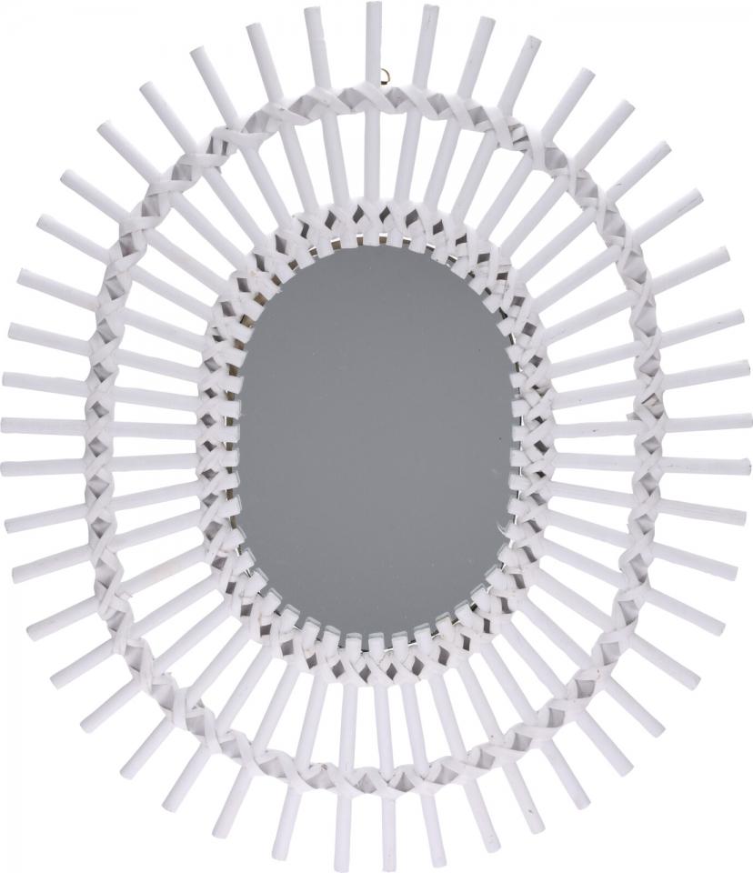Zrcadlo bílé oválné 58x49x2 cm