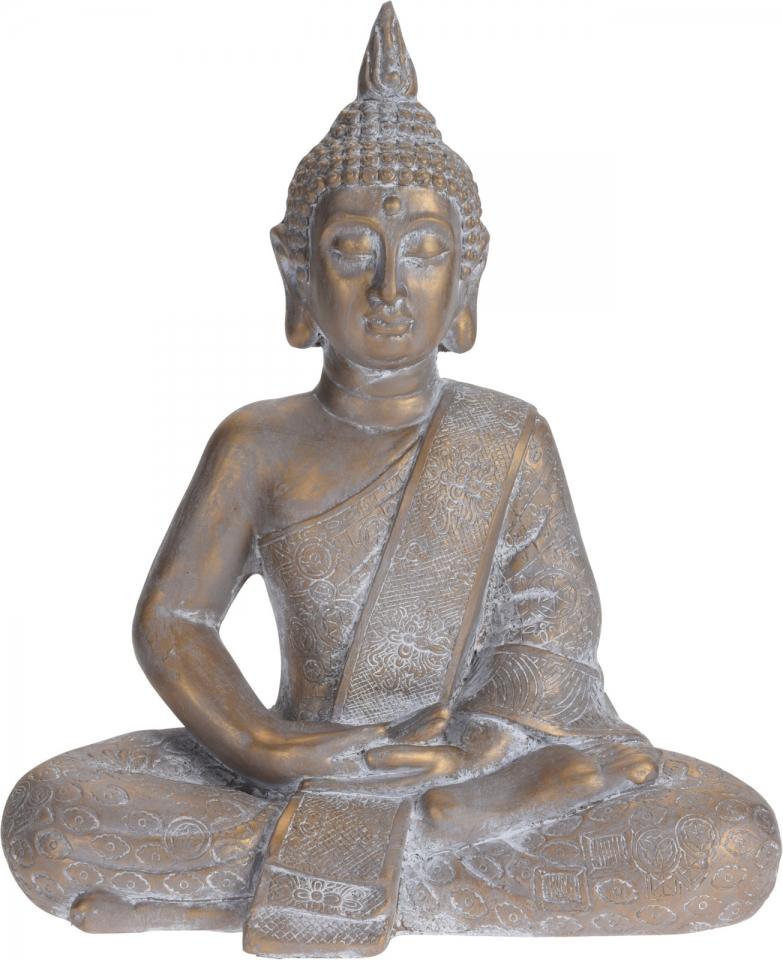 Sedící buddha zlatý s antik patinou, 49x41x23,5 cm