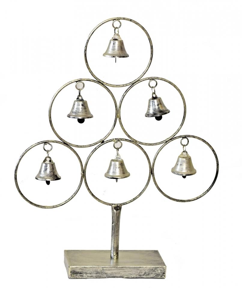 Kovový strom se zvonečky 42 cm, champagne
