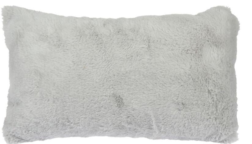 Chlupatý dekorační polštář, světle šedý, 30x50 cm
