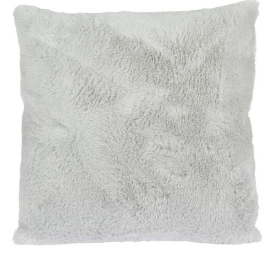 Chlupatý dekorační polštář, světle šedý, 45x45 cm