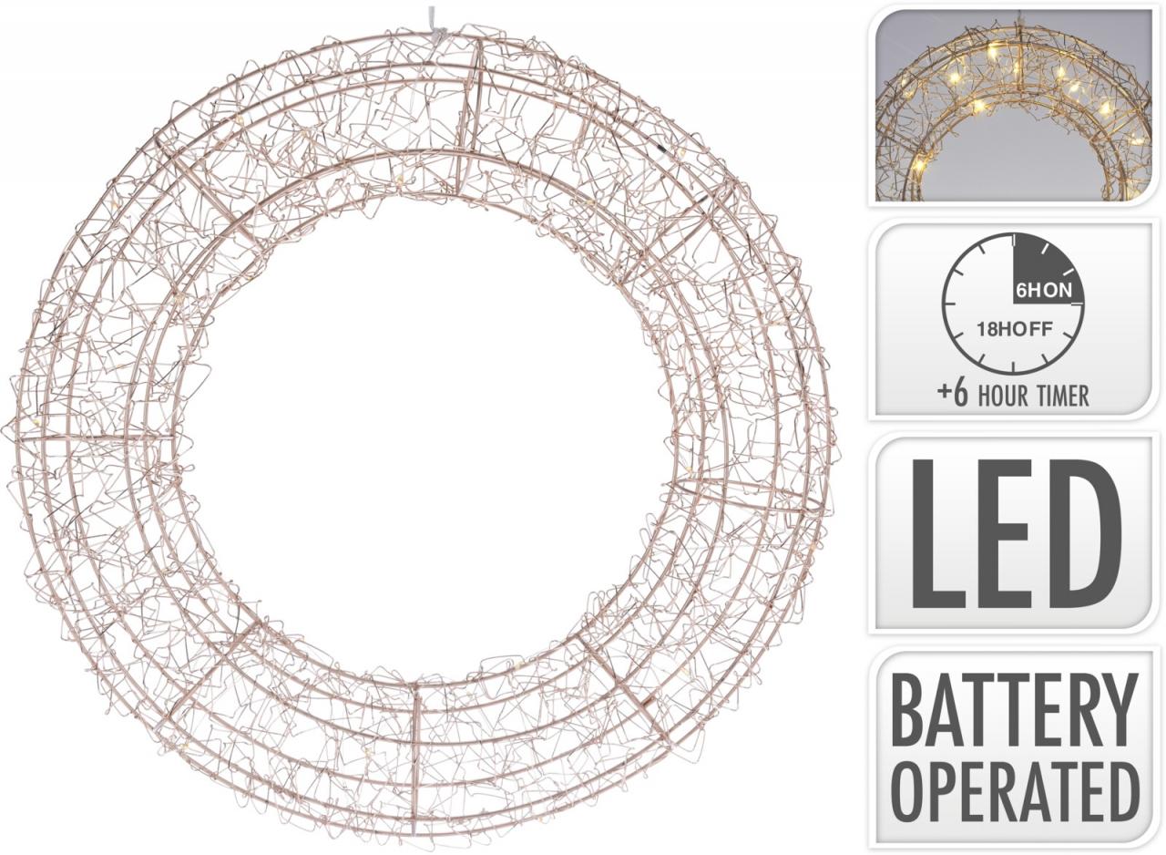 Kovový drátěný věnec s LED osvětlením, zlatý, 38 cm