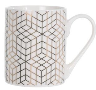 Porcelánový hrnek bílý se zlatým ornamentem C, 300 ml