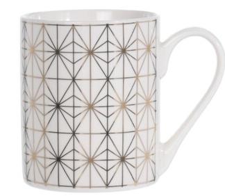 Porcelánový hrnek bílý se zlatým ornamentem D, 300 ml